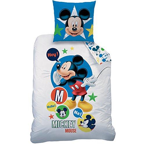 CTI - Disney - Parure Mickey Expressions 140X200+63X63 Coton, Blanc, 200 x 140 cm