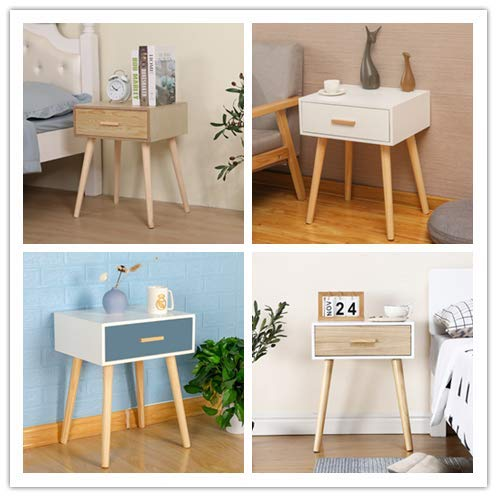 Vanimeu Wood Side Table lamp table Sofa End Table Telephone Table Plant Table Small Coffee Table Wine Table with Storage Drawer for Living Room Bedroom (Oak)