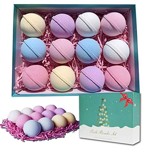 Bath Bombs, 12 Packs Bath Bomb Gift Set with Natural Essential Oils, Fizzies Body Moisturize, Perfect for Bubble & Spa Bath, Birthday Gift Idea for Her/Him, Women, Mom, Girlfriend