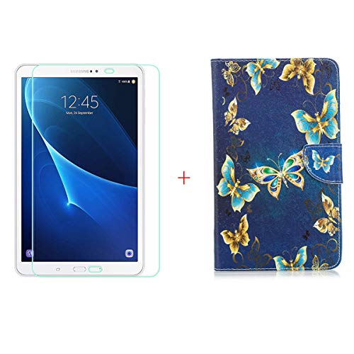 szjckj Protector de Pantalla + PU Carcasa para Samsung Galaxy Tab A6 SM-T280 (7,0') Tablet, Funda Protectora con Función de Soporte - HD Cristal Vidrio Templado Protector - LW52