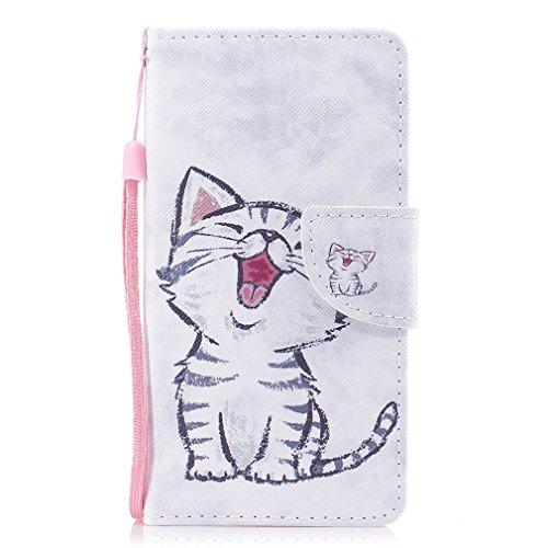 LMAZWUFULM Hülle für Samsung Galaxy J3 DUOS 2016 / SM-J320F (5,0 Zoll) PU Leder Magnet Brieftasche Lederhülle Kätzchen Muster Stent-Funktion Ledertasche Flip Cover für Galaxy J3