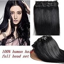 Romantic Angels 100% Remy Brazilian Human Hair 18inch Clip in Hair Extensions 100g 10pcs Set #1B