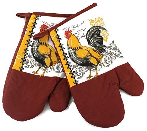 High End Home Farmhouse Rooster Collection 2 Piece Kitchen Decor Linen Set, 2 Oven Mitts, Orange Lace Black and Orange
