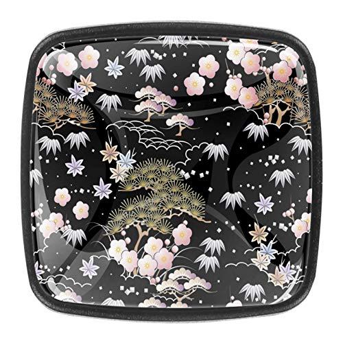 [4 unidades] Pomo de cristal colorido para armario, armario, cajón, tirador de puerta, todos los nudos de árbol de flores, fondo negro