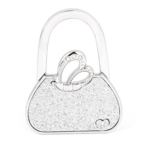 SODIAL(R)Silber Schmetterling Handtasche faltbarer Tischhaken Geldbeutel Aufhaenger Halter Haken fuer Frauen