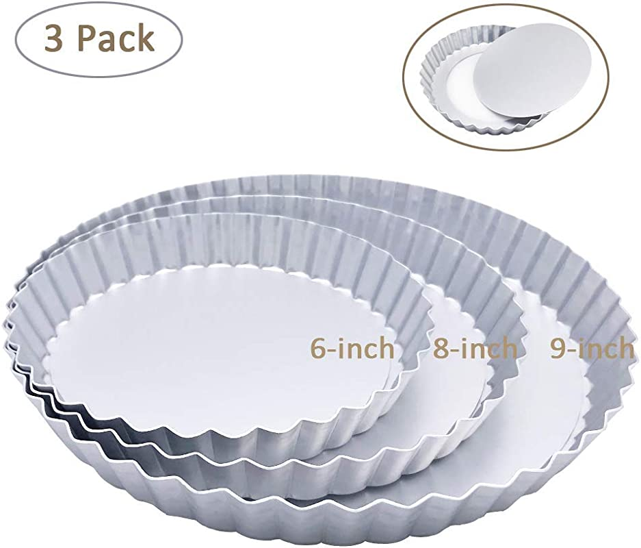 3 Pack 6 8 9 Inch Tart Pan And Quiche Pan With Removable Base Bottom Silver Color Renewed