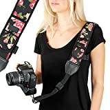 USA GEAR Camera Sling Shoulder Strap with Adjustable Floral Neoprene, Safety Tether, Accessory Pocket, Quick Release Buckle - Compatible with Canon, Nikon, Sony and More DSLR and Mirrorless Cameras