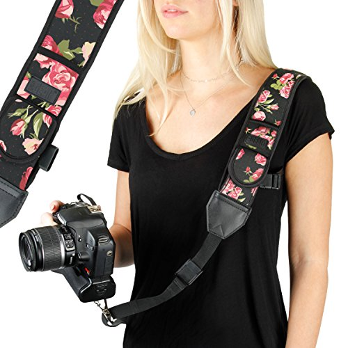 USA GEAR Camera Sling Shoulder Strap with Adjustable Neoprene, Safety Tether, Accessory Pocket, Quick Release Buckle - Compatible with Canon, Nikon, Sony and More DSLR and Mirrorless Cameras (Floral)
