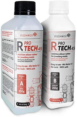 Reschimica R PRO TECH 45 (500gr) - Gomma Siliconica additiva Atossica per la realizzazione di stampi professionali ad elevata durezza (45 shoreA). No ritiro lineare. Rapporto 1:1