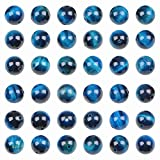 Bymitel 210pcs Natural Crystal Beads Stone Gemstone Round Energy Healing Loose Beads with Stretch Cord for Jewelry Making Bracelets Anklets (Blue Zircon Tiger's Eye, 6mm 210pcs)