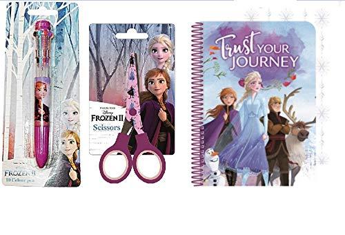 3er Set 3D Notizbuch A5 Tagebuch + 10 Farbenstift + Kinderschere , kompatibel zu Disney Frozen 2 Die Eiskönigin | Geschenk für Mädchen | Anna Elsa | Schreibblock | Schulheft | Kugelschreiber | Stift