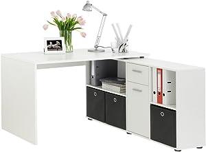 FMD 353-001_we Lex Bureau Angulaire Réversible avec Quatre Compartiments Ouverts et Porte/Tiroir Bois Blanc 66,5 x 136 x 74 cm