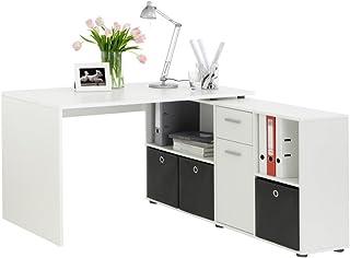 FMD 353-001_we Lex Bureau Angulaire Réversible avec Quatre Compartiments Ouverts et Porte/Tiroir Bois Blanc 66,5 x 136 x 7...