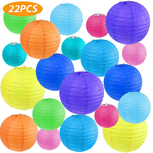 "Vastar 22 Pcs Paper Lanterns - Paper Lanterns Decorative, 4"", 6"", 8"", 10"" Color Paper Lanterns (Multi-Colored)"