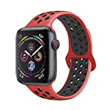 METEQI バンド 対応 Apple Watch, シリカゲルバンド スポーツシリコンストラップリストバンド交換バンド柔らか運動型 M/L Series 5/4/3/2/1 (42MM/44MM, 赤/ブラック)