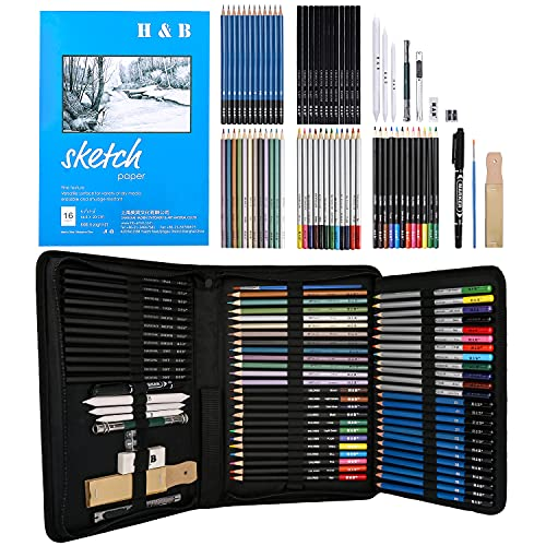 72PCS Drawing & Art Supplies Kit, Colored Sketching Pencils for Artists Kids Adults Teens, Professional Art Pencil Set with Case, Sketchpad, Watercolor & Metallic Pencil丨Ideal Beginners Coloring Set