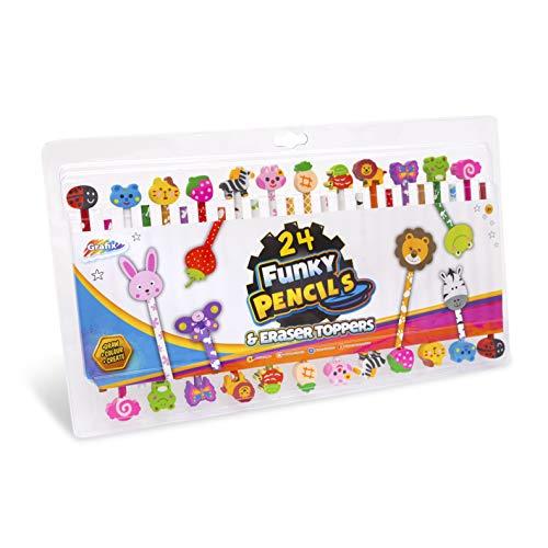 24 Funky Potloden en Gum Toppers