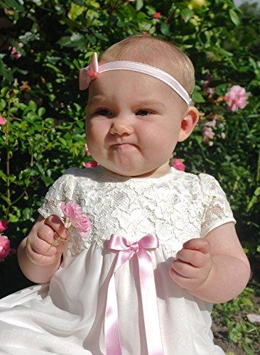 baptême Grace-minna en ivoire en mousseline et dentelle (80, 9–12 mois, Coffre 19 en, pas de nœud)