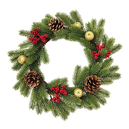 Metikkeer - Ghirlanda di Natale artificiale, 45 cm, con pigne di bacca rossa, corona per porta d'ingresso per casa, casa e fattoria, decorazione per camino