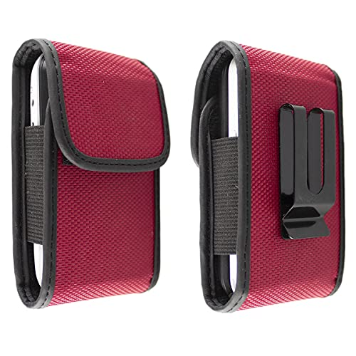 caseroxx Nylon Tasche mit Gürtelclip für Ihr Doro Handy, passend für 2404, 2424, 6030, 6040, 6041, 6060, 6061, 6520, 6530, 6620, 6621, Primo 418 in rot