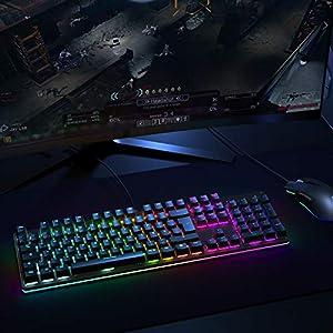 AUKEY Mechanische Gaming Tastatur mit Anpassbarer RGB-Hintergrundbeleuchtung und Taktilen Blauen Schaltern, Gaming Tastatur mit 105 Tasten und Anti-Ghosting für PC und Laptop (QWERTZ Deutsche Layout)