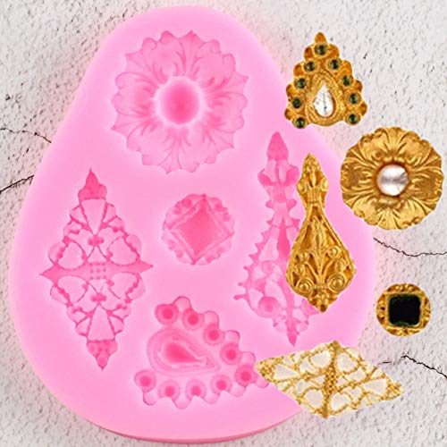 TAOZIAA DIY Diamonds Gem Silicone Fondant Molds Vintage Jewelry Cake Decorating Tools Candy Chocolate Gumpaste Moulds