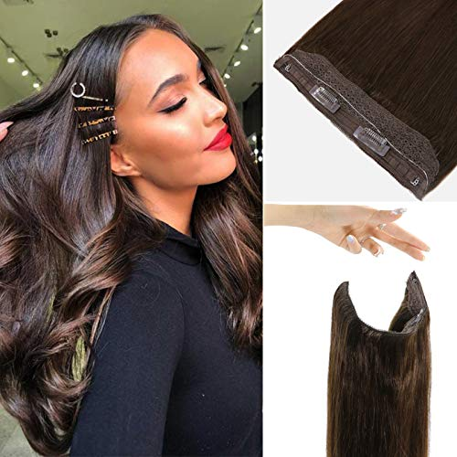 18 Inch Halo Human Hair Extensions Blonde Brown Halo Hair Extensions with Fish Line Straight Dark Brown Invisible Highlight Halo Couture Extensions Thick 80g/Set