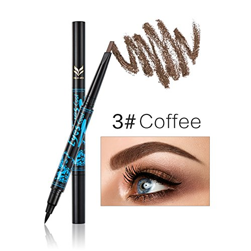 TININNA 1Pcs 2 en 1 Double Tête Imperméable à l'eau Eyeliner et Crayon à Sourcils Automatique Brow Pencil Eye Liner Maquillage Kit de Coloriage Café