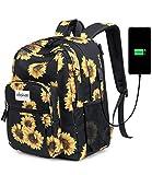 Abshoo Classical Basic Women Travel Laptop Backpack School Bookbag for College Teen Girls Backpack with USB Charging Port (USB Sunflower Black)