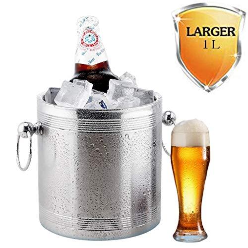 YWSZJ Champagner Eimer Eiskühler Edelstahl Chiller mit Luxus Chrom Platte Premium Große dekorative Weinflasche Clear Party (Size : 1L)