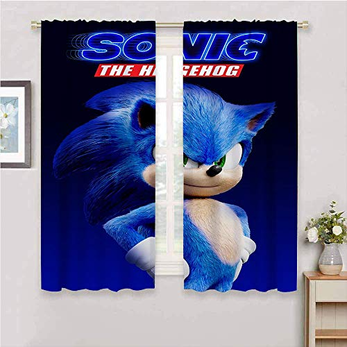 Cortinas de ventana con bolsillo para barra, Sonic the Hedgehog con bolsillo superior de cortina, paneles suaves para sala de estar, 42 x 63 pulgadas