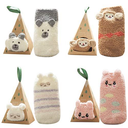 Fascigirl 4 pares de meias para bebês com estampa de desenhos animados, meias infantis