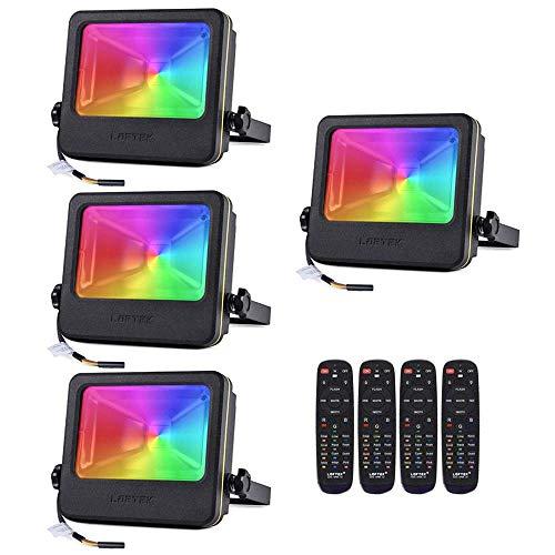 RGB Flood Light, 50 watts LED Security Floodlight, No Plug Need Hard Wiring, 16 Colors Changing and 6 Levels Adjustable Brightness Outdoor Light by LOFTEK, NOVA S Series, Black (Black 4-Pack)