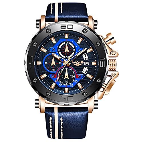 LIGE Relojes Hombres Cronógrafo Deporte Impermeable Analógico Cuarzo Acero Inoxidable Negro Esfera Grande Cuero Luminoso Calendario Reloj de Pulsera