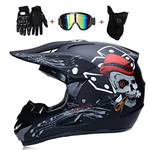 OUTLL Adulto Motocross Cascos, con Gafas Guantes Máscara, Ciudad Cascos BMX Motocicleta ATV Go-Kart Casco Bicicleta de Montaña Cruzar Cascos, Todo Alrededor Protector Casco, Dot Certificado