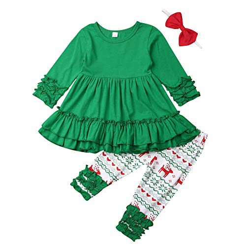 Christmas Outfits for Baby Girls Tutu Dress Tshirt with Striped Pant Clothing Set (3-4 Year, Green)