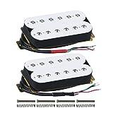 FLEOR Set de manche/chevalet (50mm / 52mm) micro guitare humbucker Alnico 5 aimant double bobine humbuckers partie micro guitare électrique, blanc