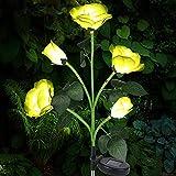 Solarlampen für Außen, Vegena Solar Gartenleuchte Rose Blume Gartenlampe Pfahllichter Straßenlaterne Wasserdicht IP65 Automatische EIN/Aus Solarleuchten für Rasen Balkon Garten Terrasse Gartendeko
