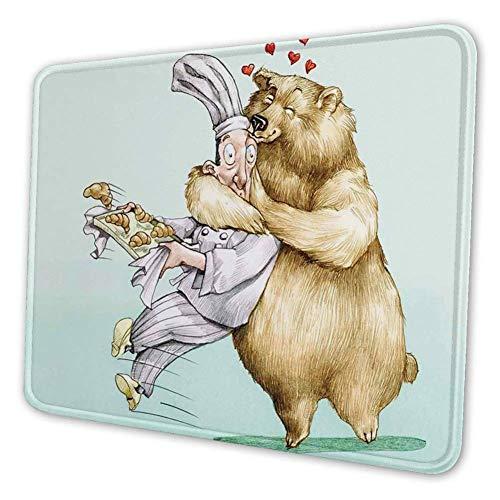 Rechthoekige Mousemat Mousepad, Grote Beer Volledig Knuffels Het Gebak Dier Liefde Humor Satire Romance Thema Kunstmatig