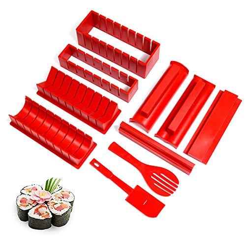 Gobesty Sushi Maker, 10 Pezzi Sushi Kit Completo, Kit Sushi Fai da Te Professionale, Kit Sushi per la Casa per Sushi DIY Anche Come Regalo (8 Forme Fai-da-Te)