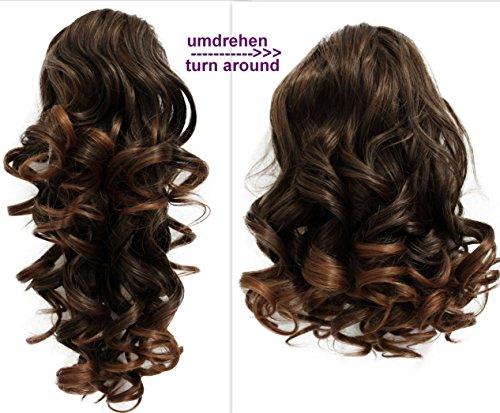 PRETTYSHOP 2 IN 1 30cm Und 40cm Haarteil Zopf Pferdeschwanz Haarverlängerung Voluminös Gewellt Braun Mix H11-2