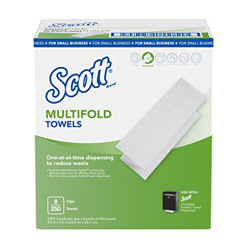 "Scott Multi-fold Paper Towels for Small Business (49183), 9.2"" x 9.4"", 8 Clips per Case"