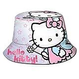 Hello-Kitty Cartoon Anime Cute Cat Pink Fisherman Hat Verano Protección UV Travel Bucket Sombreros Beach Gorra de Sol Plegable para Hombres y mujeres-86