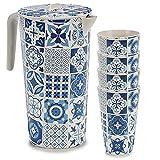 Space Home - Set de Jarra de Agua y Vasos de Bambú - Jarra con Tapa + 4 Vasos - Recipiente para Líquidos - Respetuoso con el Medio Ambiente - Biodegradable - Diseño Mosaico - Bambú - Diseño 1