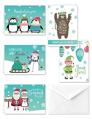 Paper Frenzy North Pole Collection Winter Christmas Holiday Thank You Note Cards and Envelopes - 25 pack