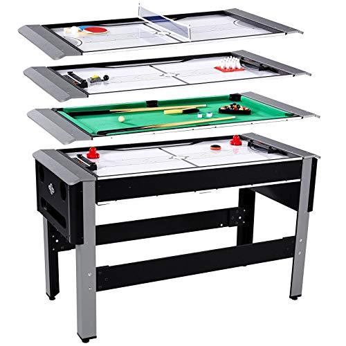 Best Price ARABYAN BROTHERS 4 in 1 Bowling, Hockey, Table Tennis, Pool Arcade Game Table, Black Arca...