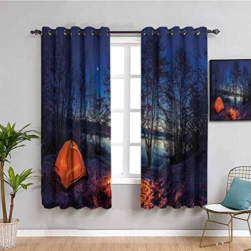 Camper Premium Cortinas opacas iluminadas tienda de campaña en invierno campamento en la noche Naturaleza Exploración Trekking imagen fácil de instalar azul naranja ciruela W52 x L63 pulgadas