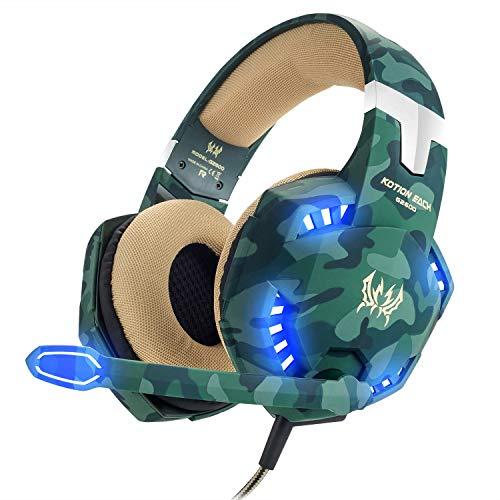 VersionTECH. Auriculares Gaming Cascos PS4 con Microfono, Diadema Ajustable, Bass OverEar 3,5mm Jack, Luz LED, Control de Volumen, Bajo Ruido para PS4/Xbox One/Nintendo Switch/PC/Móvil (Verde)