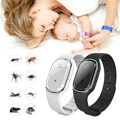 ja 2 Pack Ultrasonic Mosquito Repellent Bracelets, Non-Toxic Electronic Adjustable Mosquito Insect Repeller Wristbands Waterproof with USB Rechargeable for Kids Adults(Black, White)