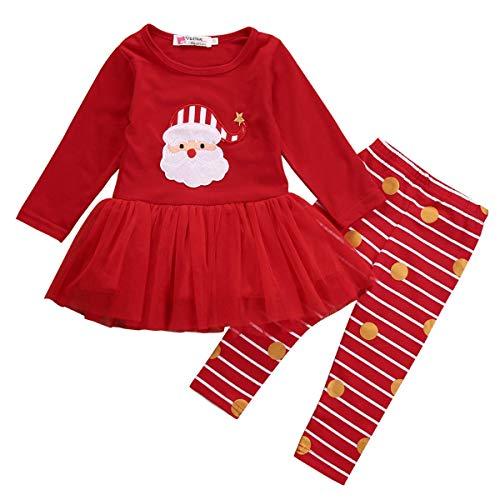 Geagodelia Completini Natalizi per Neonata Bambina Babbo Natale Maglietta + Pantaloni Costume di Natale Tuta (Rosso, 0-6 mesi)